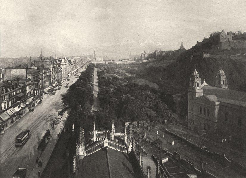 Associate Product SCOTLAND. Edinburgh, towards Calton Hill west end of Princes street 1901 print