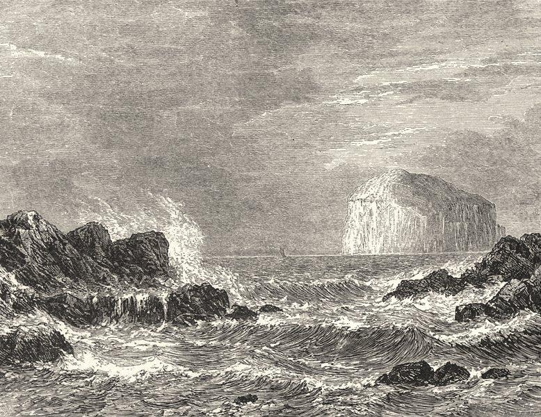 SCOTLAND. The Bass Rock, from North Berwick 1901 old antique print picture