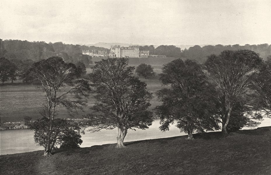 Associate Product SCOTLAND. Floors Castle from the South bank of the Tweed 1901 old print
