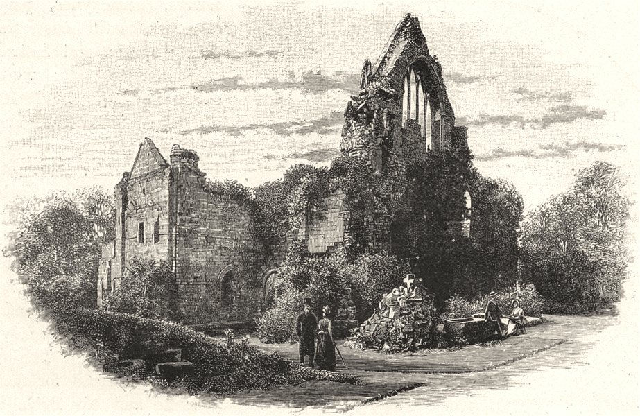 SCOTLAND. Dryburgh Abbey, from the East 1901 old antique vintage print picture