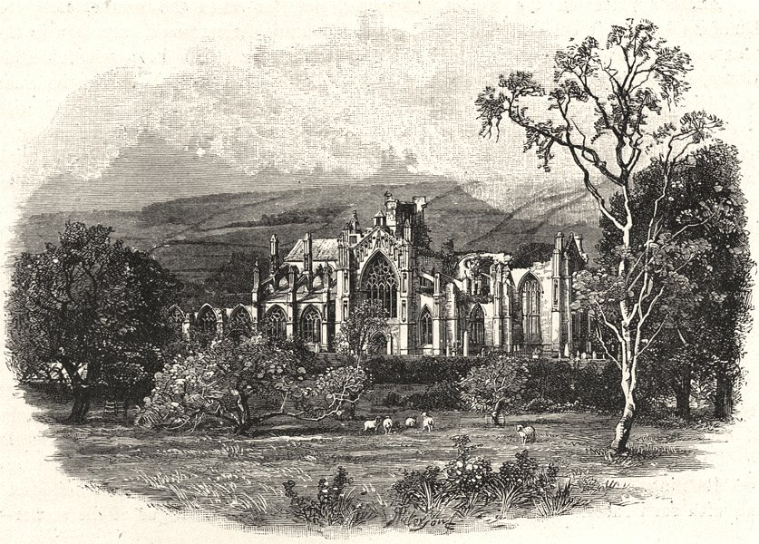 Associate Product SCOTLAND. Melrose Abbey, from the South- east 1901 old antique print picture