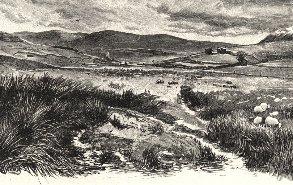 Associate Product NORTHUMBERLAND. Keilder Moors (with peel fell to the right)  1901 old print