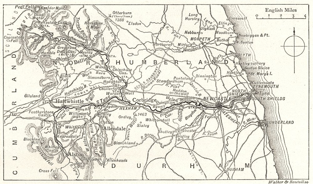 NORTHUMBERLAND. The Course of the Tyne. Sketch map 1901 old antique chart