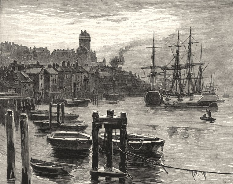 Associate Product NORTHUMBERLAND. Shields Harbour. The High Lights 1901 old antique print
