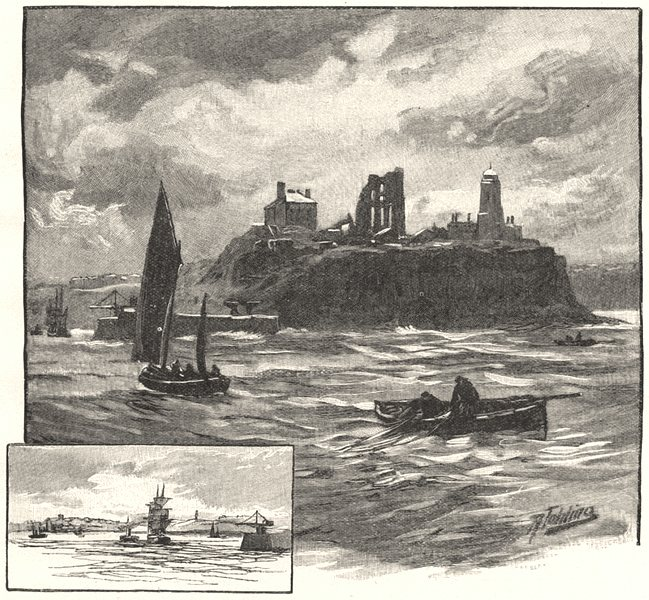 Associate Product NORTHUMBERLAND. Tynemouth, from the Sea 1901 old antique vintage print picture