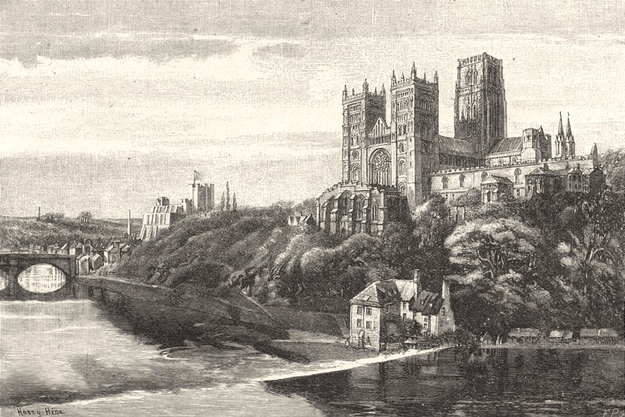 DURHAM. Durham Cathedral and Castle 1901 old antique vintage print picture
