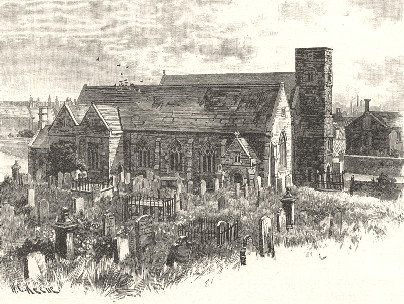 NORTHUMBERLAND. Monkwearmouth church 1901 old antique vintage print picture