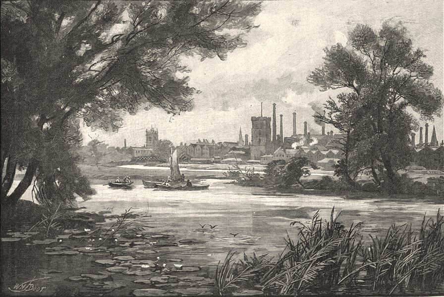 STAFFORDSHIRE. Burton- upon- Trent 1901 old antique vintage print picture