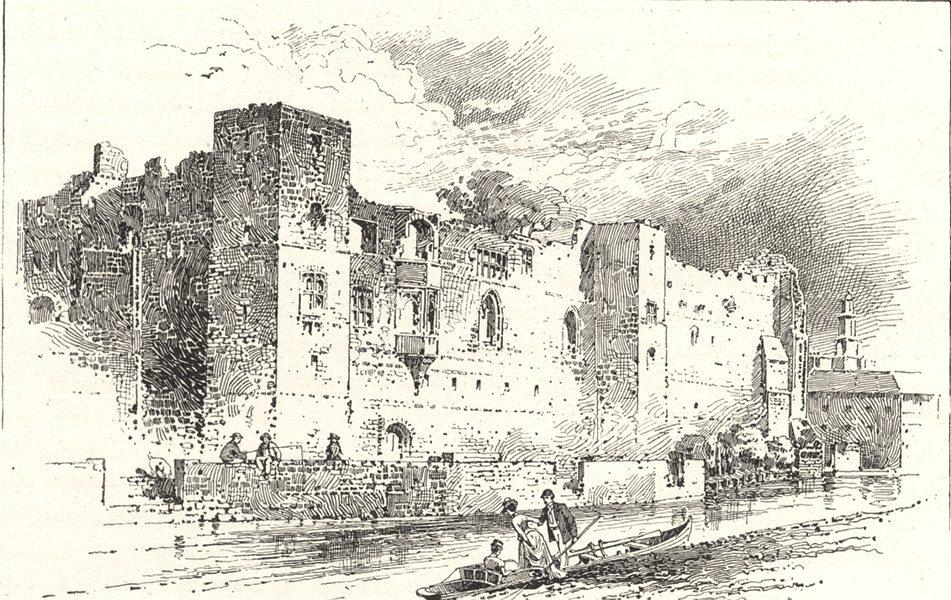 NOTTINGHAMSHIRE. Newark castle 1901 old antique vintage print picture