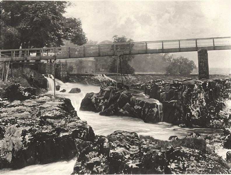 Associate Product YORKSHIRE. Falls of the Wharfe 1901 old antique vintage print picture