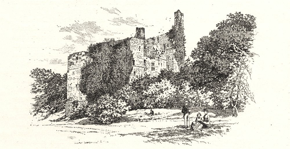 Associate Product YORKSHIRE. Ruins of Harewood castle 1901 old antique vintage print picture
