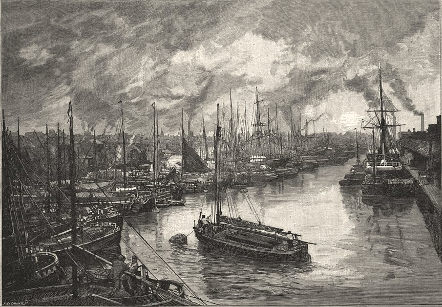 YORKSHIRE. Queen's dock, Hull 1901 old antique vintage print picture