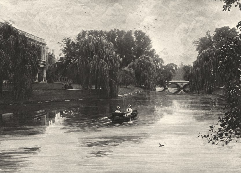 CAMBRIDGESHIRE. The Cam at Cambridge with Trinity College 1901 old print