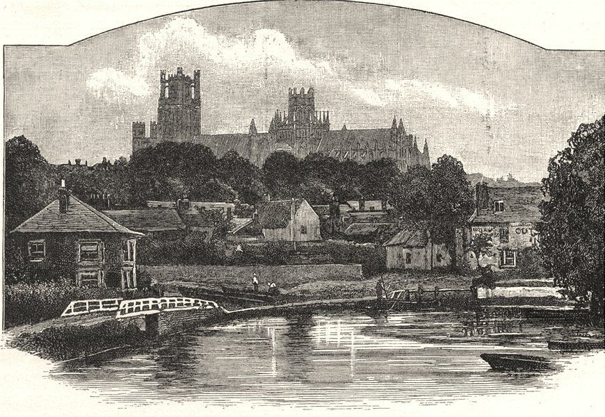 CAMBRIDGESHIRE. Ely Cathedral, from the River 1901 old antique print picture