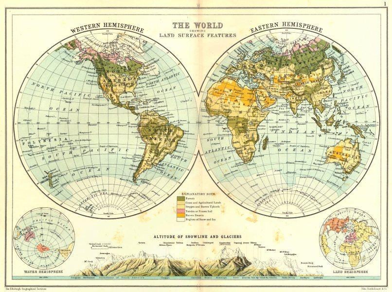 Associate Product WORLD IN HEMISPHERES.Western Eastern Land Water. Snowline altitudes 1909 map
