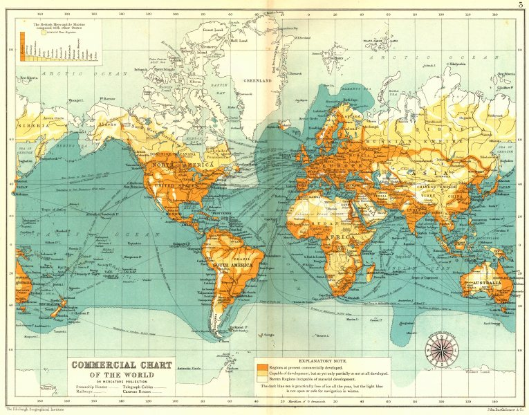 Associate Product WORLD. Commercial chart. Development. Mercantile marine tonnage 1909 old map