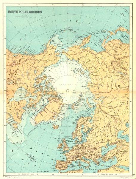 NORTH POLAR REGION Arctic. Unexplored. Nansen Peary Abruzzi approaches 1909 map