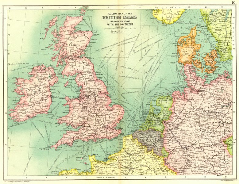 Associate Product BRITISH ISLES. Railways. Steamer routes France Belgium Holland Germany 1909 map