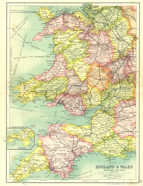 Associate Product WALES & SOUTH WEST ENGLAND.Shows railways canals coach steamer routes 1909 map