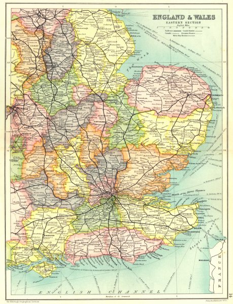 Associate Product SOUTH & EAST ENGLAND.Shows railways canals coach bus & steamer routes 1909 map