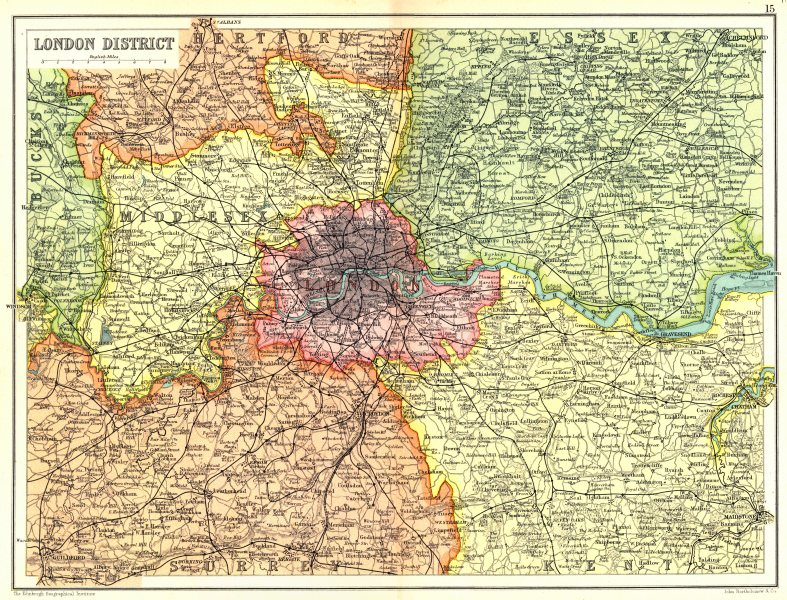 England Map London.Details About South East England London Home Counties Middlesex Surrey Kent Essex 1909 Map