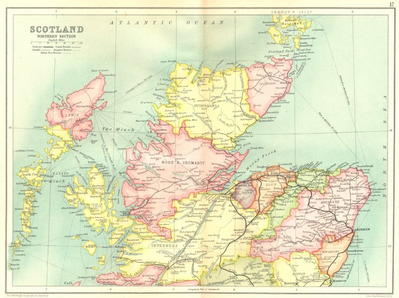 Associate Product NORTHERN SCOTLAND.Highlands Western Isles Grampian Inverness Sutherlnd 1909 map