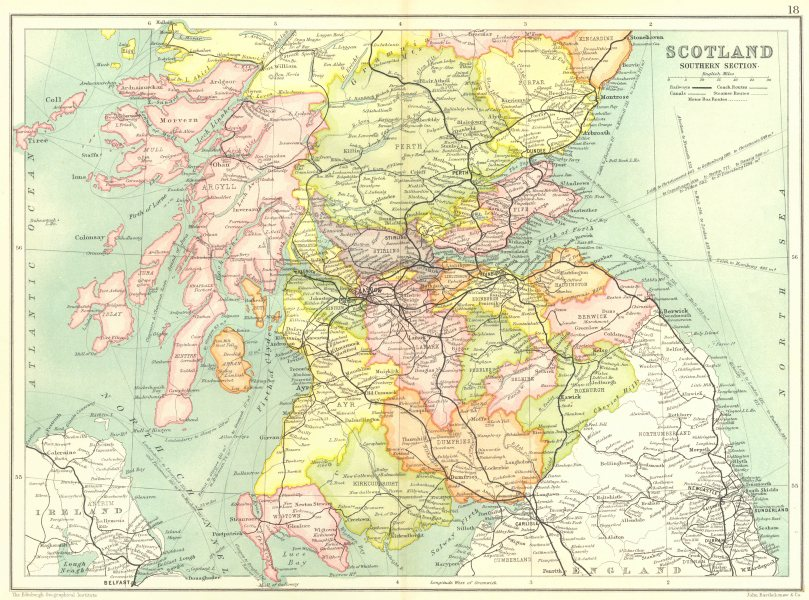 Associate Product SOUTHERN SCOTLAND. Dumfries/Galloway Borders Strathclyde Tayside Fife 1909 map