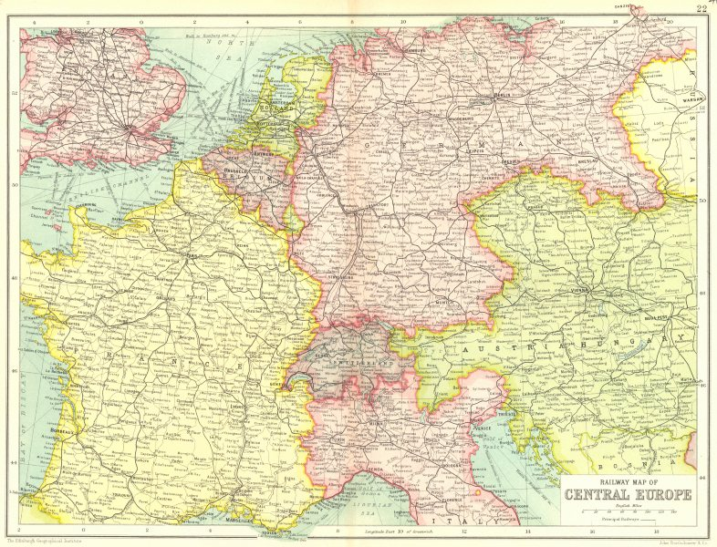 Map Of France Germany Switzerland.Details About Central Europe Railways France Germany Austria Hungary Switzerland Nl 1909 Map