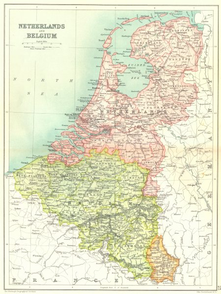 Associate Product BENELUX. Netherlands. Belgium. Grand Duchy of Luxembourg 1909 old antique map