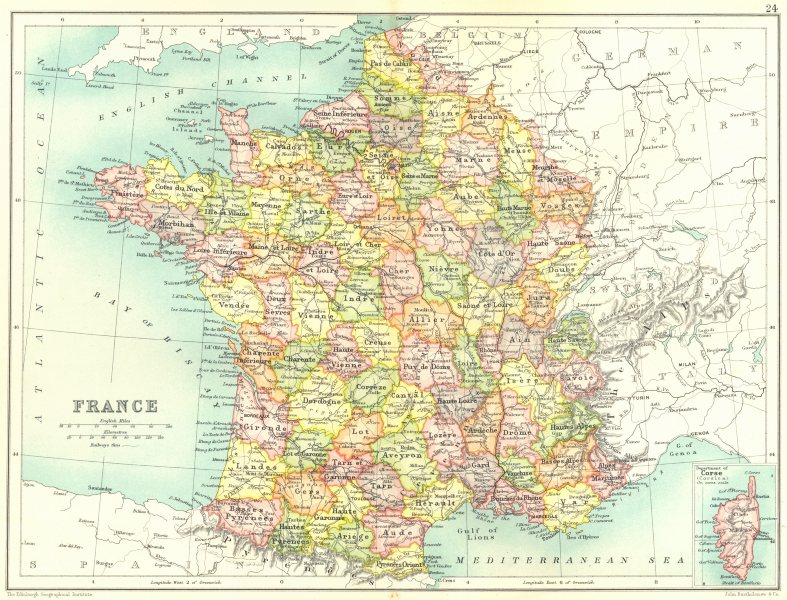 Associate Product FRANCE. Showing departements. Railways. Cassells. 1909 old antique map chart