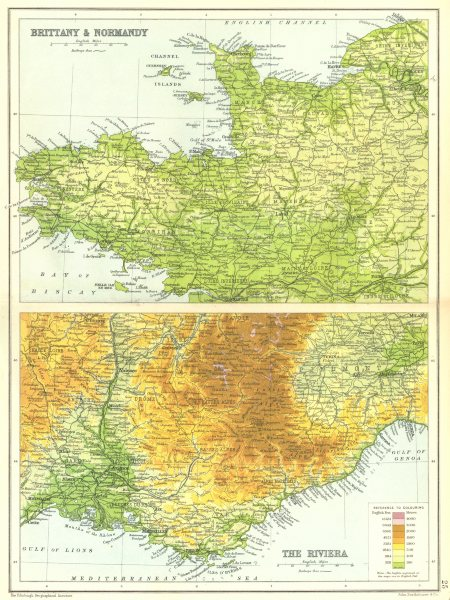 Associate Product FRANCE. Brittany & Normandy; The Riviera Cote d'Azur Côte d'Azur  1909 old map