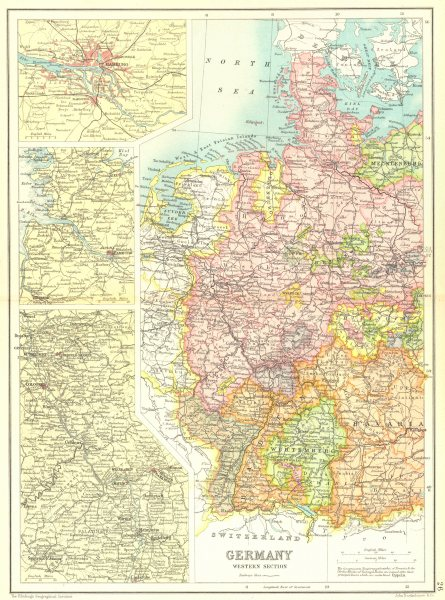 Associate Product WESTERN GERMANY. Inset Hamburg; Rhine Valley. Cassells 1909 old antique map