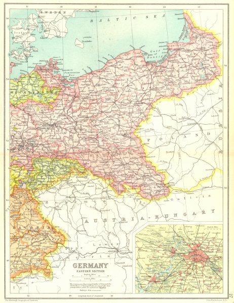 Associate Product EASTERN GERMANY. Inset Berlin. Prussia. Railways. Cassells 1909 old map