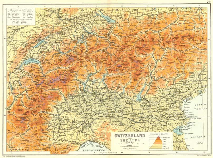 Details about ALPS. Switzerland and The Alps. Altitude. Peaks Mountains  1909 old antique map