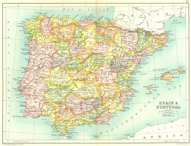 IBERIA. Spain showing provinces & Portugal 1909 old antique map plan chart
