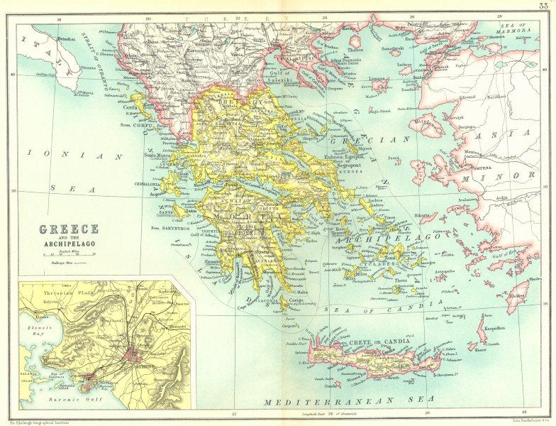 Associate Product GREECE & CRETE. Shows AUTONOMOUS CRETAN STATE. Archipelago; Athens 1909 map