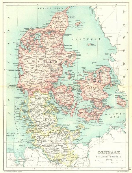 DENMARK & SCHLESWIG-HOLSTEIN. Lauenburg. Inset map of Bornholm 1909 old