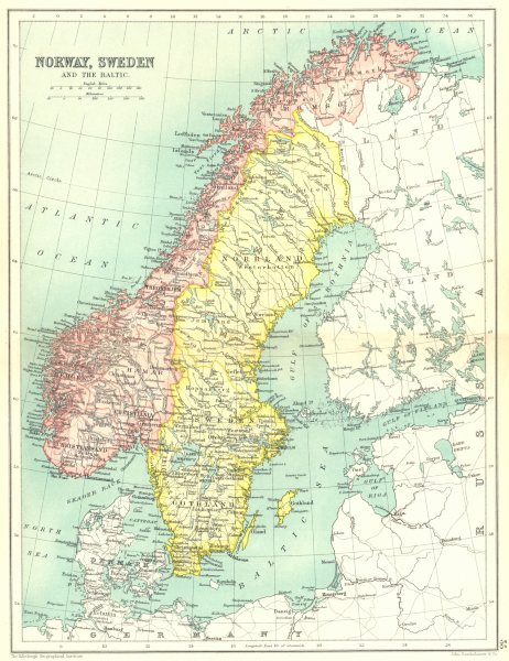 Associate Product SCANDINAVIA. Norway, Sweden and the Baltic. Cassells 1909 old antique map