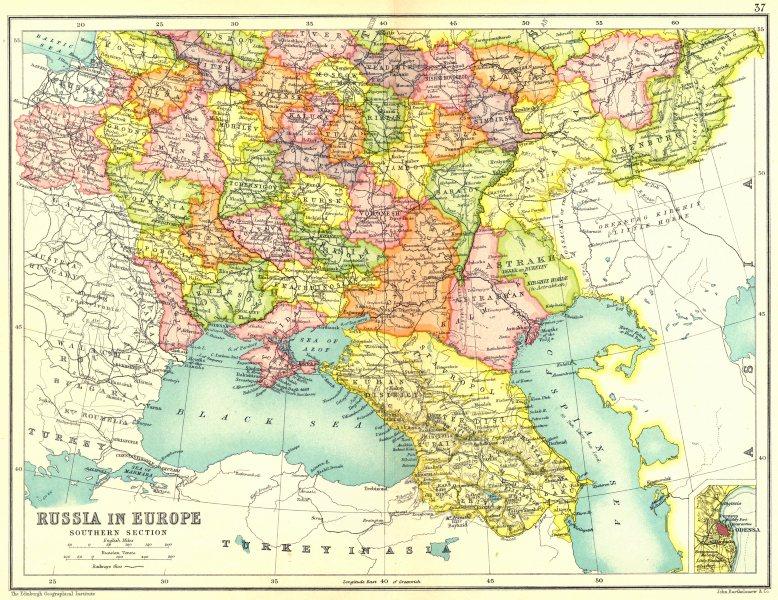Details about EUROPEAN RUSSIA S. Ukraine Poland Trans-Caucasia.Inset Odessa  1909 old map