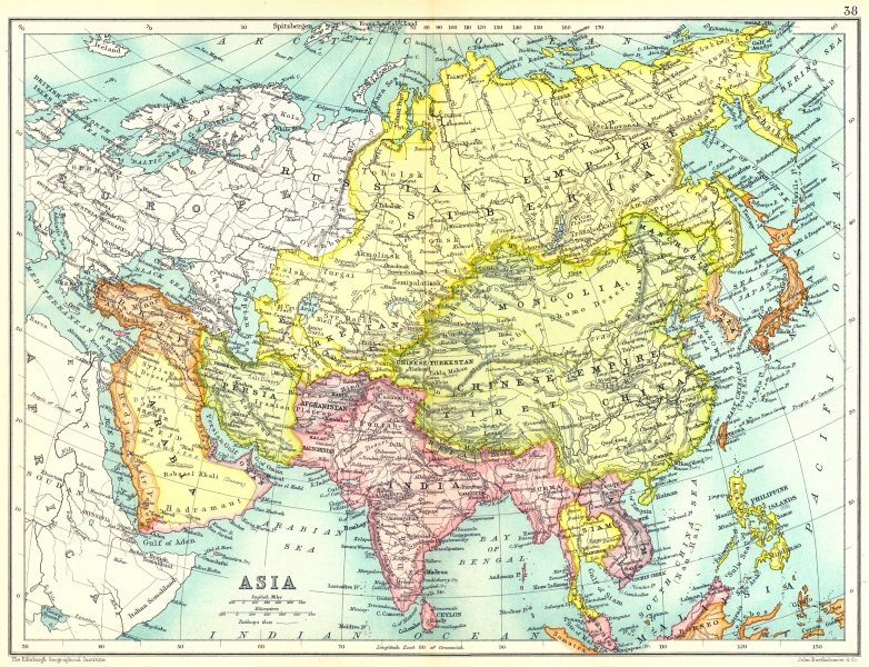 Asia Map Siberia.Asia Arabia Turkey Persia Siberia India Siam Anam Afghanistan Japan