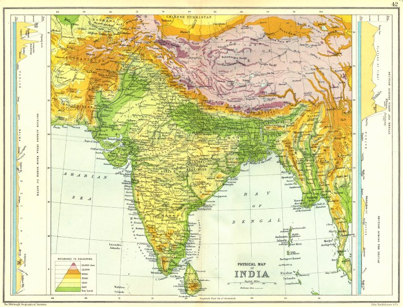 Associate Product INDIA PHYSICAL.With Sections N-S ;across Tibet-Bengal & Deccan 1909 old map
