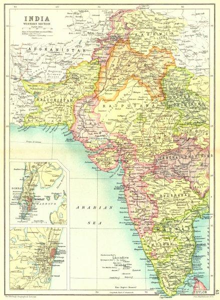 Details about WEST INDIA  Inset Mumbai Bombay Chennai Madras  Showing  native states 1909 map