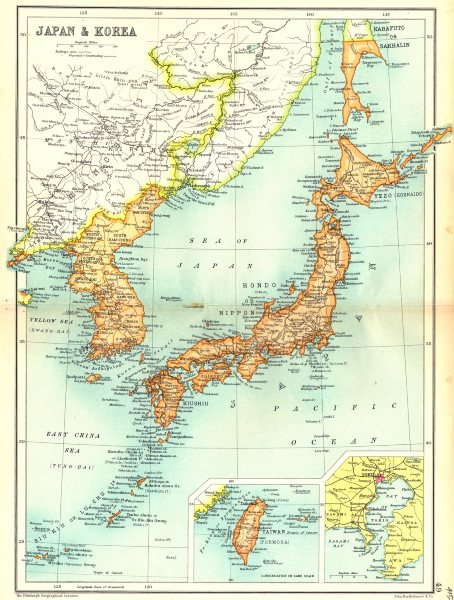 Associate Product JAPAN & KOREA. Inset maps of Taiwan; Tokyo. Cassells 1909 old antique