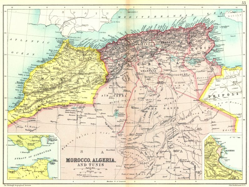 Associate Product NORTH AFRICA MAHGREB. Morocco Algeria Tunisia; Gibraltar; Algiers 1909 old map