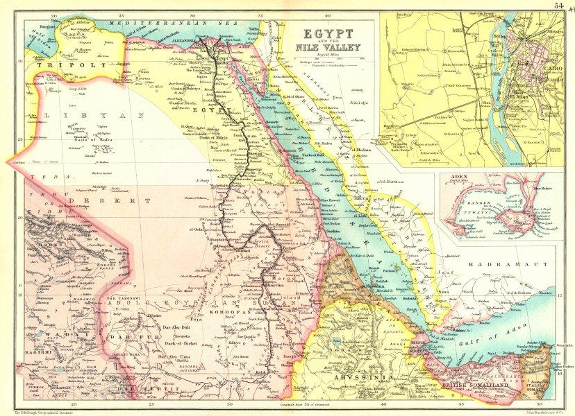 EGYPT & NILE VALLEY.Sudan.Eritrea.British Somaliland.Inset Cairo; Aden 1909 map