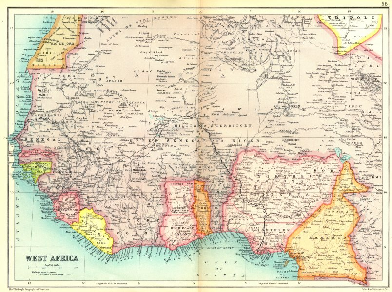 Associate Product WEST AFRICA French West Africa. Gold Coast Togo Nigeria Kamerun Gambia 1909 map