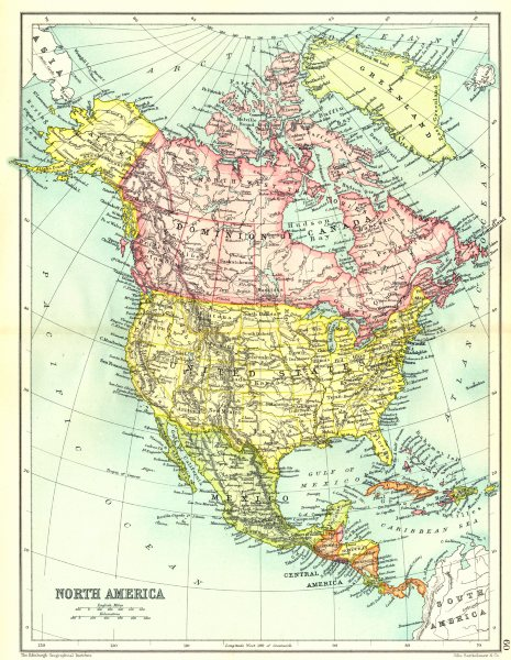 Associate Product NORTH AMERICA. United States. Dominion of Canada Mexico etc. Cassells 1909 map