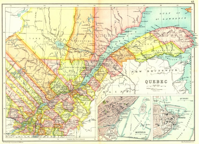 Associate Product QUEBEC.Showing counties. Inset Montreal; Quebec City. Canada. Québec 1909 map