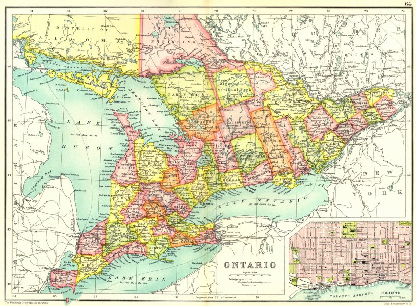 Associate Product ONTARIO. Showing counties. Inset map of Toronto. Canada. Cassells 1909 old