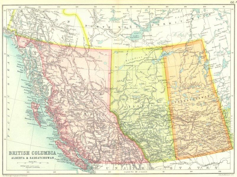 Associate Product BRITISH COLUMBIA ALBERTA SASKATCHEWAN.Railways open/projected. Canada 1909 map